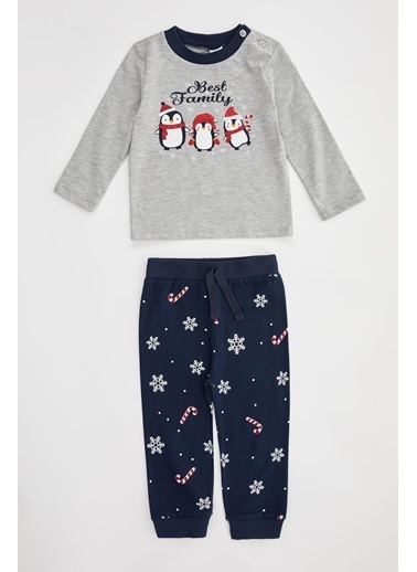 DeFacto Erkek Bebek Penguen Baskılı Pijama Takımı Gri
